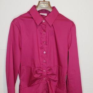 New York And Company Medium Blouse Pink Long Sleev